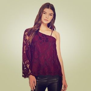 1.State One Shoulder Lace Blouse